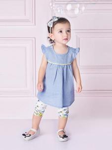 哇喔森堡童装蓝色甜美女裙