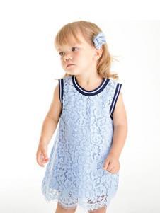哇喔森堡童装蓝色蕾丝女裙