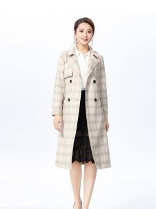 娜么美女装米白格子时尚大衣