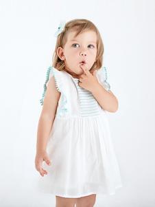 哇喔森堡童装白色休闲女裙