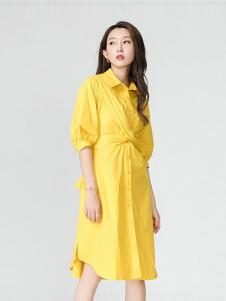 娜么美女装黄色衬衫连衣裙