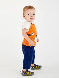 哇喔森堡童装橘黄时尚T恤
