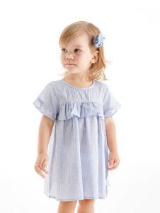 哇喔森堡童装浅蓝休闲女裙