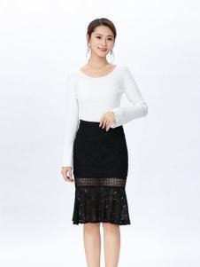 娜么美女装黑色蕾丝半身裙