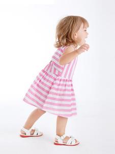 哇喔森堡童装粉色条纹女裙