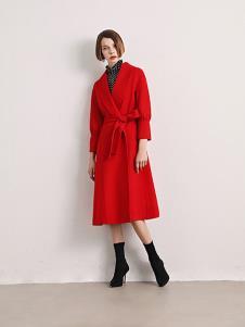 诱货女装红色系带大衣