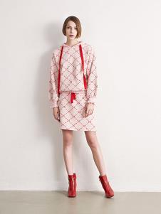 诱货女装粉色格子连衣裙套装