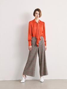 诱货女装橘黄休闲衬衫