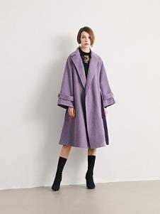 诱货女装紫色宽松大衣