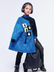 JOJO童装2018女童蓝色羽绒服