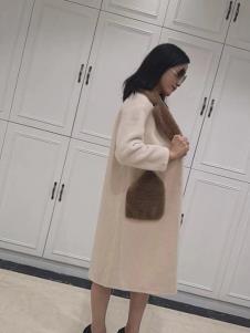 悠曼琦女装米白时尚大衣