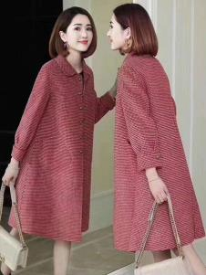 悠曼琦女装红色宽松大衣