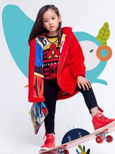 JOJO童装2018女童红色羽绒服