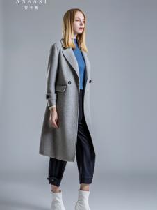 2018安卡茜女装灰色大衣