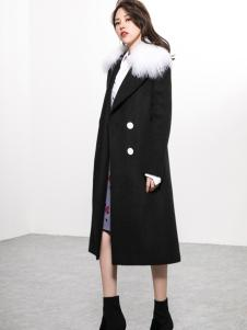 Ms.Leyna女装2018经典黑色大衣