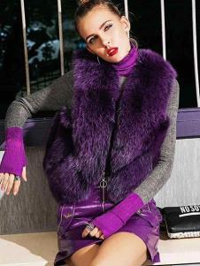 飞范女装紫色皮草背心外套