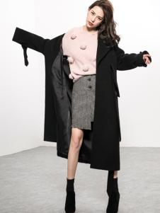 Ms.Leyna女装2018黑色大衣