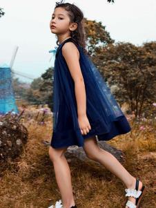 铅笔树童装藏青无袖连衣裙