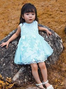 铅笔树童装蓝色蕾丝女裙