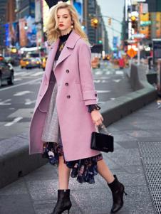 ANOTHER ONE18粉色双面呢大衣