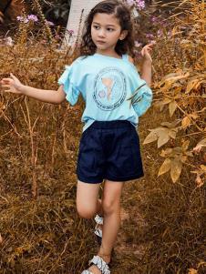 铅笔树童装蓝色露肩T恤