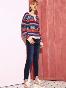 2018西蔻女装条纹毛衣