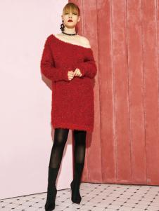 2018西蔻女装红色毛衣