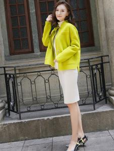 描写女装黄色休闲外套