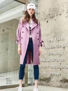 纳古女装粉紫色双排扣风衣