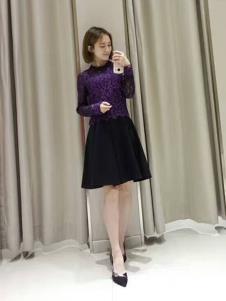 合集女装紫色蕾丝T恤