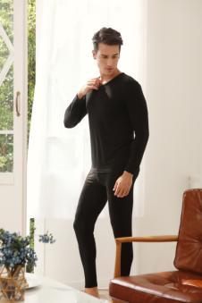 蜜诺男式黑色保暖内衣