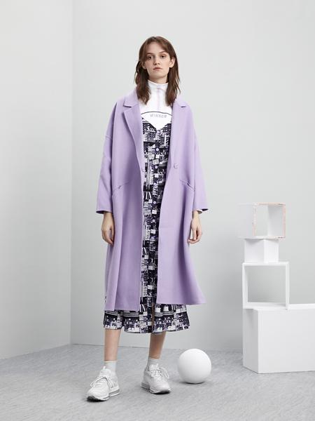 5secs五秒轻潮女装冬装新款紫色大衣