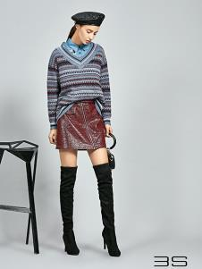 尚艾诗3S女装条纹假两件针织衫