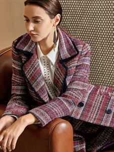 尚艾诗3S女装条纹格子时尚大衣