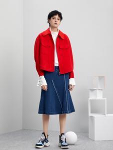 5secs五秒轻潮女装冬装新款红色外套