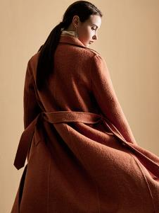 尚艾诗3S女装焦糖色休闲大衣