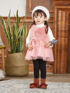 崇者童装粉色时尚女裙