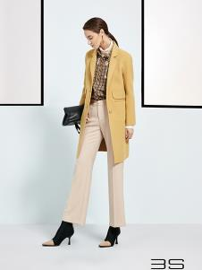 尚艾诗3S女装黄色中长款西装风衣