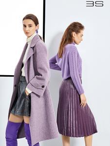 尚艾诗3S女装浅紫色时尚大衣