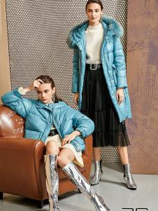 尚艾诗3S女装蓝色时尚羽绒服