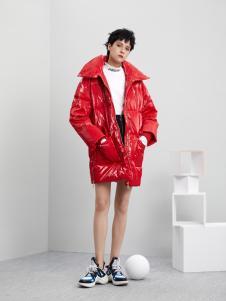 5secs五秒轻潮女装冬装新款红色羽绒服