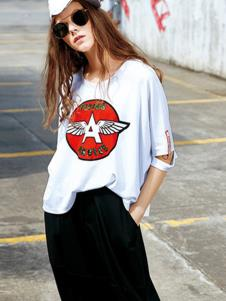 欧娅铂女装白色韩版T恤