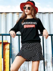 欧娅铂女装黑色字母T恤