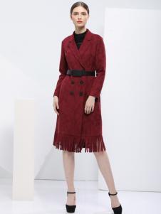 2018艺梦来女装酒红色修身大衣