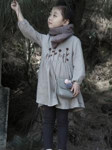 森虎儿童装灰色印花女裙