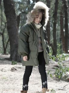 森虎儿童装军绿色休闲羽绒服