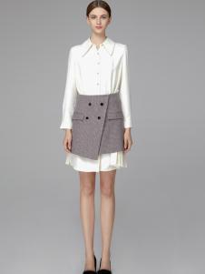 2018凡恩女装白色衬衫裙两件套