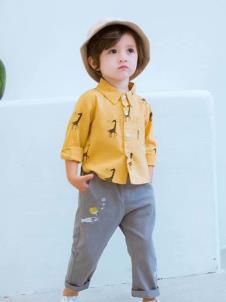 木言汀童装黄色动物衬衫