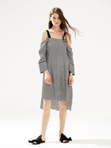 bccd女裝灰格子吊帶連衣裙