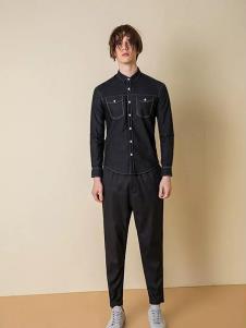 一泽男装黑色时尚衬衫